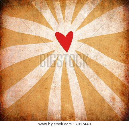 Abstract Grunge Heart Background With Sun Rays