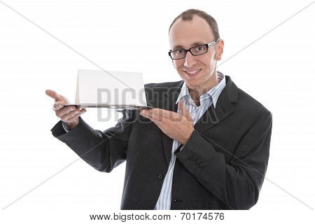 Isolated Funny Businessman Holding A Sign On Silver Platter Over White Background.