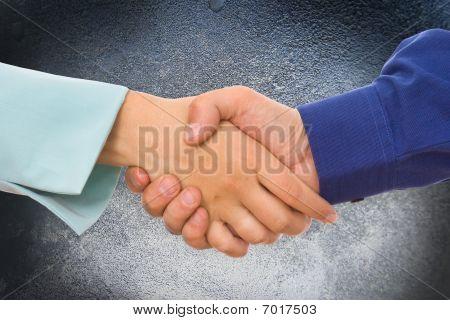 Image of businesspeople handshake on the background