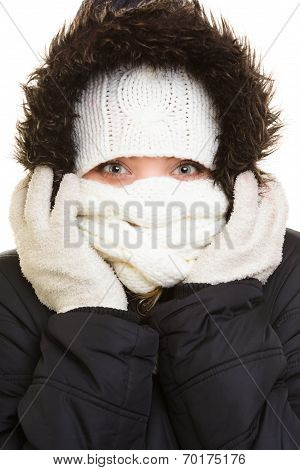 Winter Vacation. Girl Covering Face With Scarf.