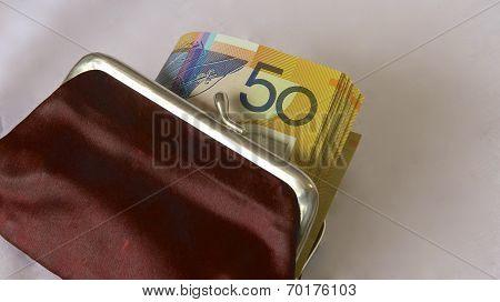 Australian Dollars in a Purse