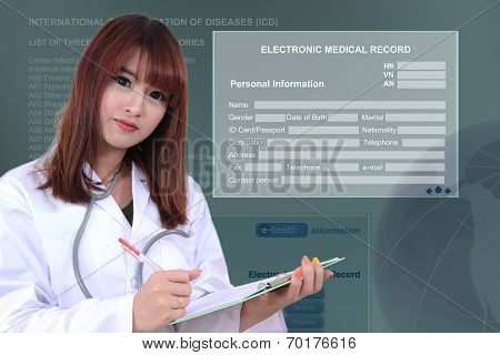 Doctor With Electronic Medical Record.