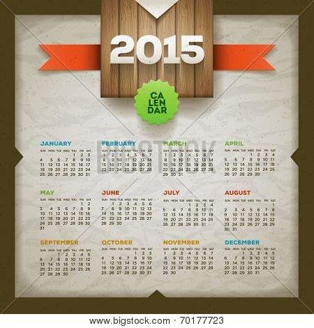 2015 calendar. Vector design template. Elements are layered separately.