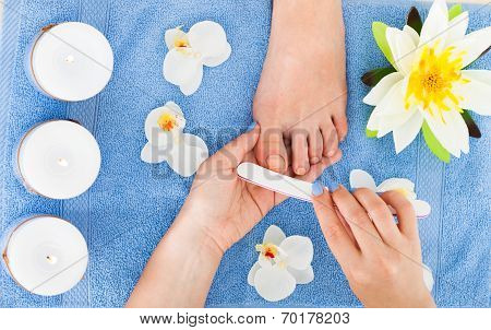 Woman Undergoing Pedicure Process