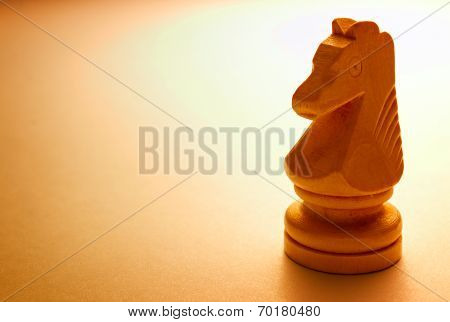Macro Wooden Horse Chess Piece