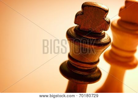 Macro Wooden King Chess Piece On White Background