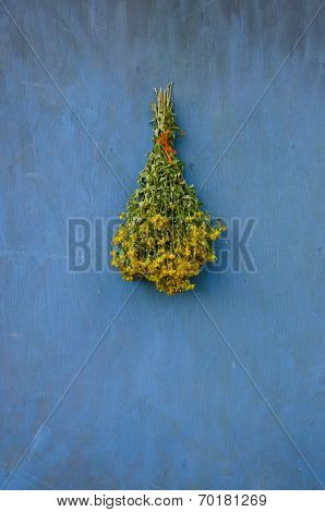 Bouquet Bunch St John's Wort Hang On Wooden Wall