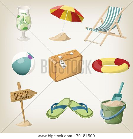 Beach items set. Travel, vacation items. Vector illustrations