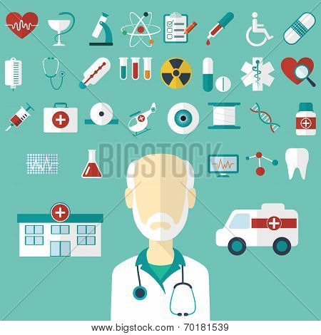 Set of flat Medical icons. Vector illustration