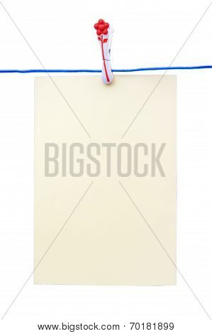 Blank Piece Of Paper Pinned To A Washing Line