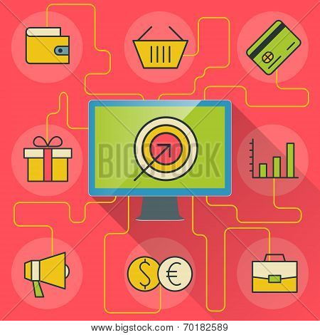 E-commerce And Business Infographics With Computer And Icons