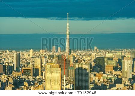 TOKYO,JAPAN - March 28 : View of TOKYO Skytree(634m), the second highest structure in the world on M