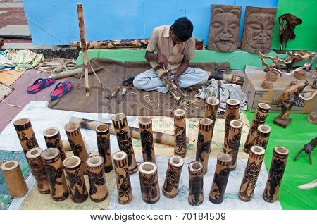 Wooden Art Work , Indian Handicrafts Fair At Kolkata