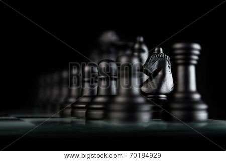 Black Knight Chess Pieces
