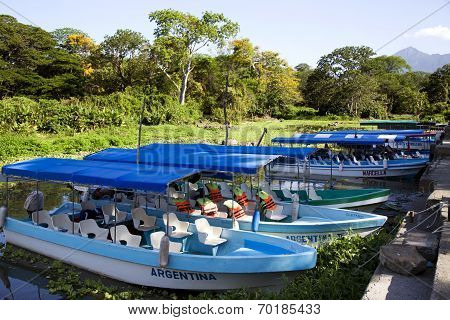 Excursion toy-ships on a lake Nicaragua