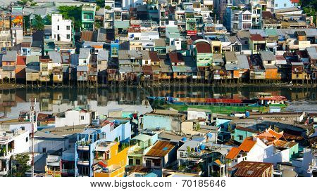 Overloaded City, Riverside Home At Vietnam