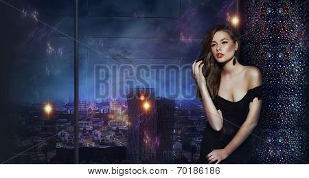 Beautiful Girl Over Futuristic Urban Background Of Night City
