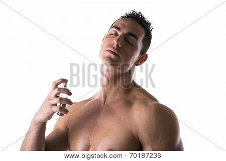 Shirtless Male Model Spraying Cologne