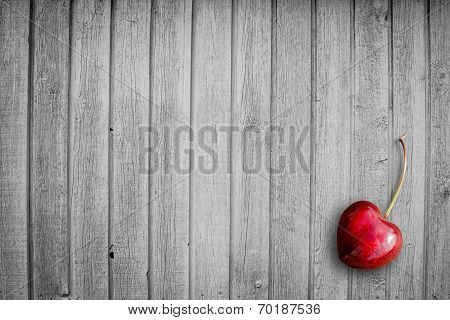 Red Cherry On Wood