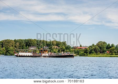 Old steamboat on a river