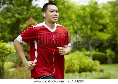 Athlete Runner Man Sweating After Running In The Garden