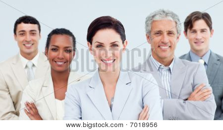 International Business People Standing With Folded Arms