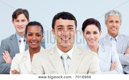 Multi-ethnic Business People Standing With Folded Arms