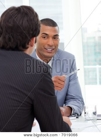 Two Businessmen Having A Talk Together