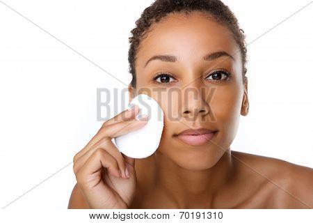 Beautiful Black Woman Removing Make Up
