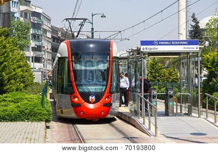 Modern Tram On The Street Of Istanbul