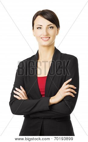 Business Woman Portrait, Isolated Over White Background, Smiling Girl In Suit With Crossed Arms