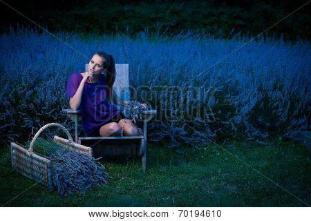 Beautiful Young Woman On Lavander Field At Dusk - Lavanda Girl