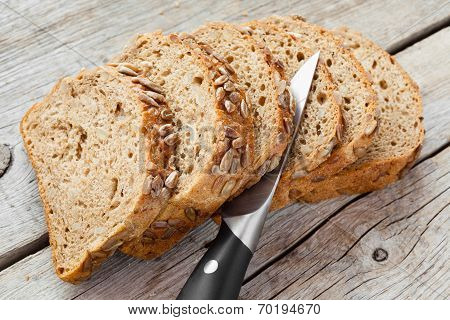 Slices Of Rye Bread And Knife