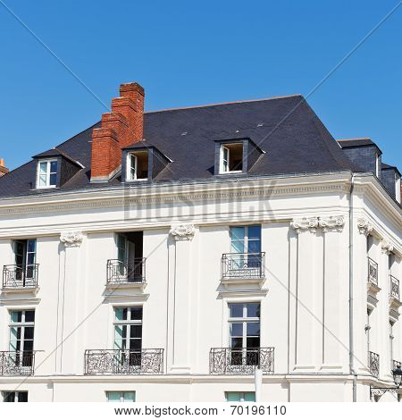 Facade Of Old Urban House In Nantes City