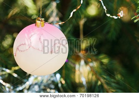 Pink Glass Ball Christmas Decoration