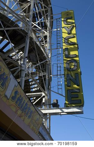 BROOKLYN, NY - DECEMBER 18:  Signage at the entrance to the Astroland Cyclone Rollercoaster is shown December 18, 2004 in the Coney Island neighborhood of New York City.