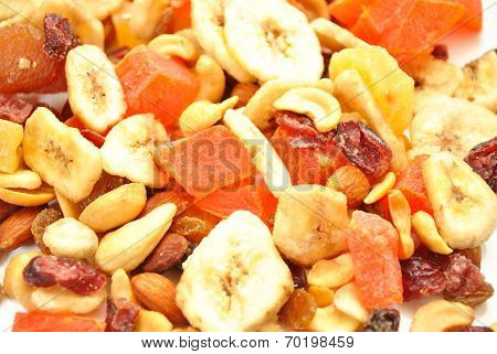 Organic Fruity Trail Mix As A Tasty Background