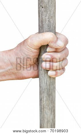 Male Hand Holds Old Wooden Stick