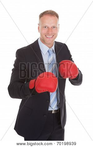 Confident Businessman Wearing Boxing Gloves
