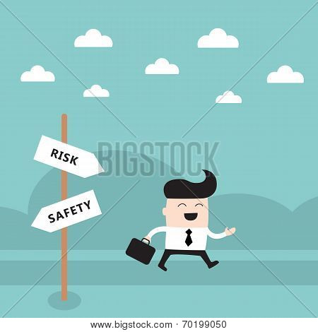 Happy Businessman On The Road Take A Risk Concept
