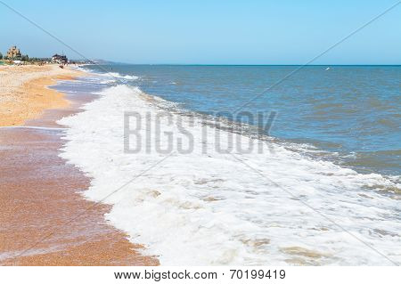 Beach Of Sea Of Azov In Settlement Golubickaya