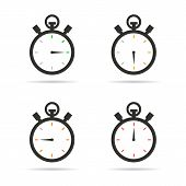 picture of stopwatch  - Black silhouette stopwatch flat style icons set on white background - JPG