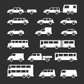 foto of motor-bus  - Set icons of car and bus isolated on black - JPG