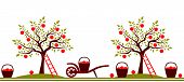 foto of hand-barrow  - vector seamless border with apple trees - JPG