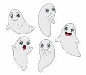 stock photo of funny ghost  - A collection of five cute ghost illustrations in various poses - JPG