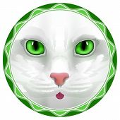 picture of hair bow  - cat face eyes vector kitten bow hair facial portrait - JPG