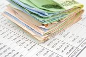 stock photo of statements  - Close up pile bill of Thailand place on statement finance account - JPG