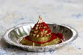 image of sri yantra  - Vermillion sprinkled on Mahameru also called Sri Yantra a Hindu religious spiritual tool - JPG