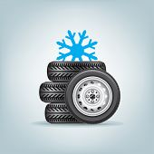 image of four-wheel  - The set of winter wheels with icon of snowflake - JPG
