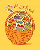 stock photo of nightingale  - vectors banner Easter basket with eggs and poultry - JPG